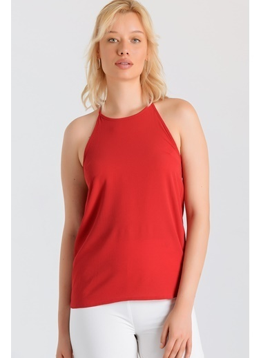Jument Sırtı Dantelli Sıfır Yaka Bluz -Sax Kırmızı